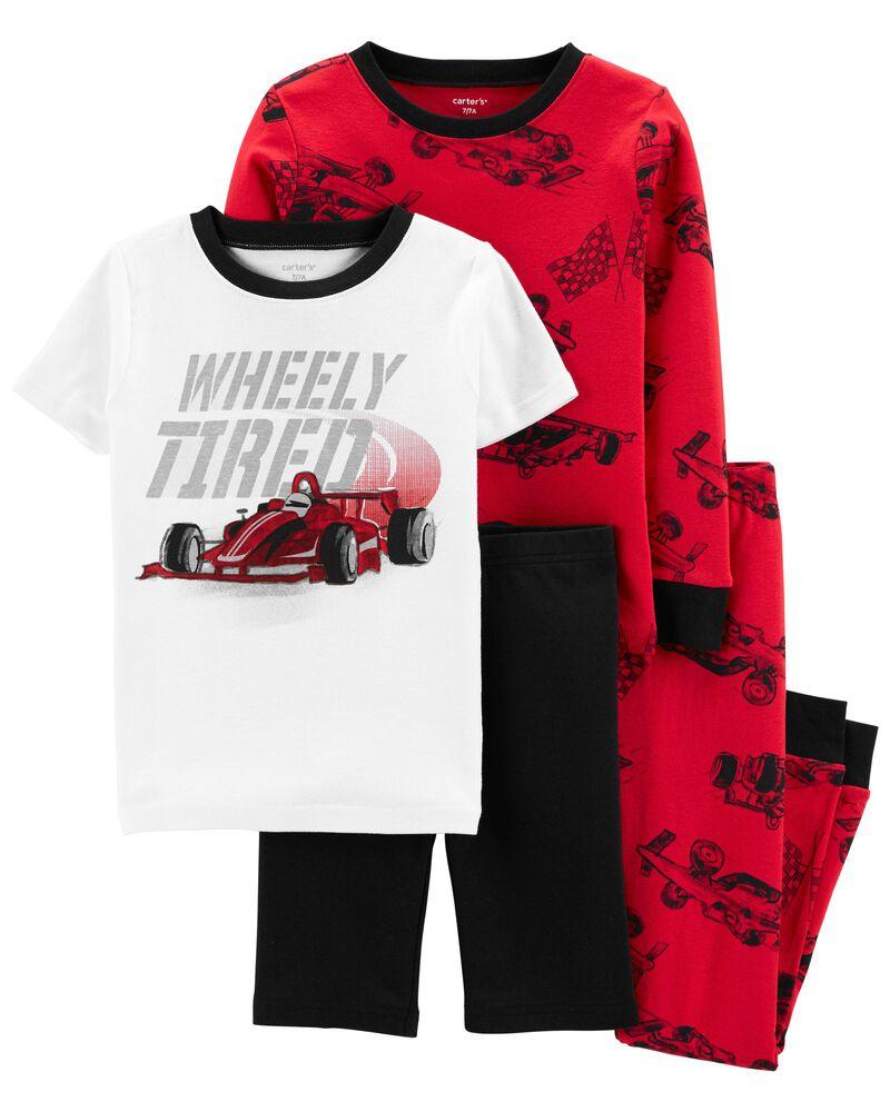 Pyjama 4 pièces en coton ajusté à motif de voiture de course, , hi-res