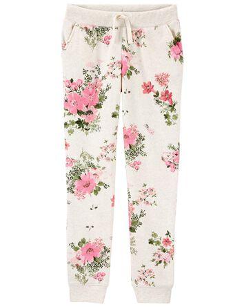 Pantalon en molleton fleuri à logo