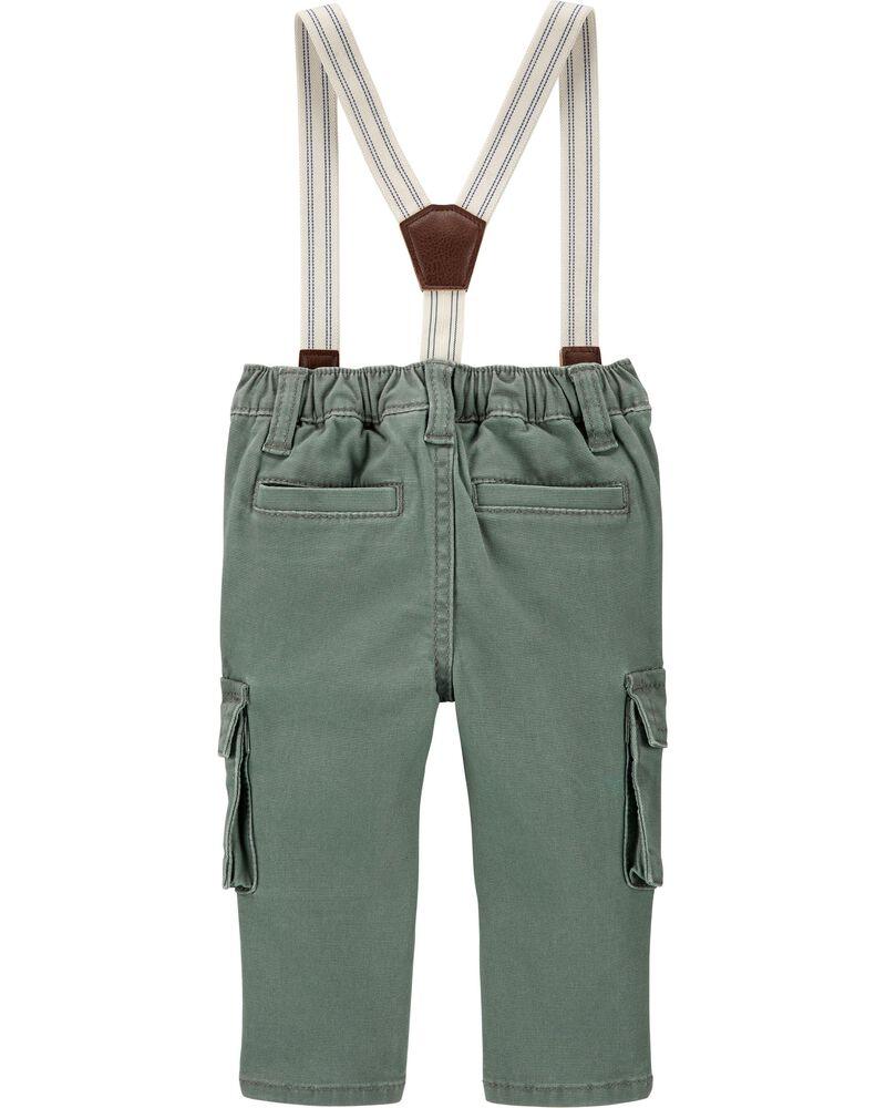 Stretch Cargo Suspender Pants, , hi-res