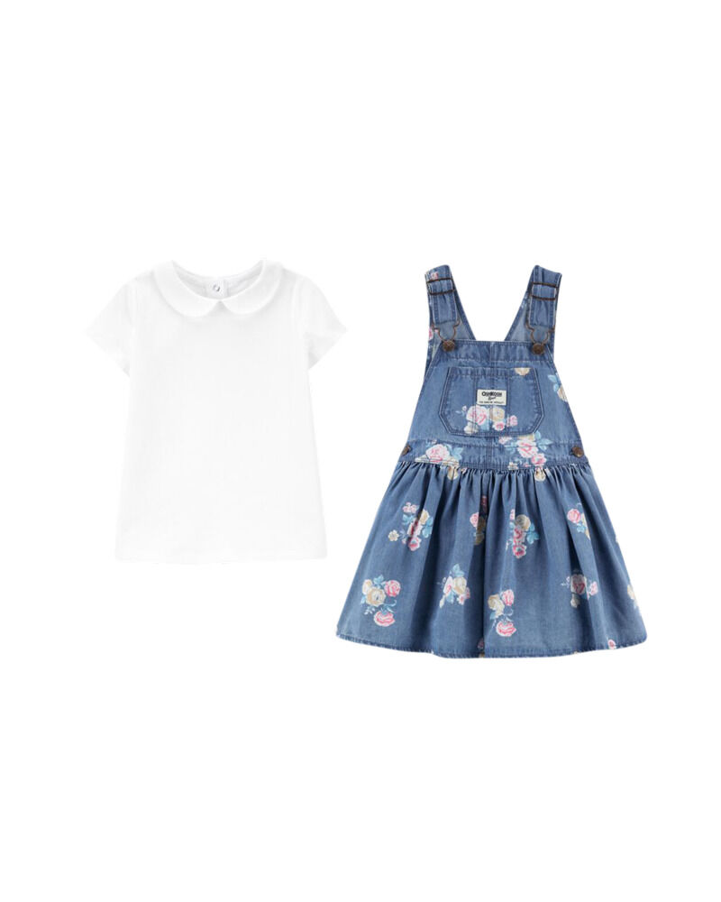 Peter Pan Collar Top & Floral Denim Jumper Set, , hi-res