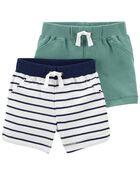 Emballage de 2 shorts à enfiler en coton, , hi-res