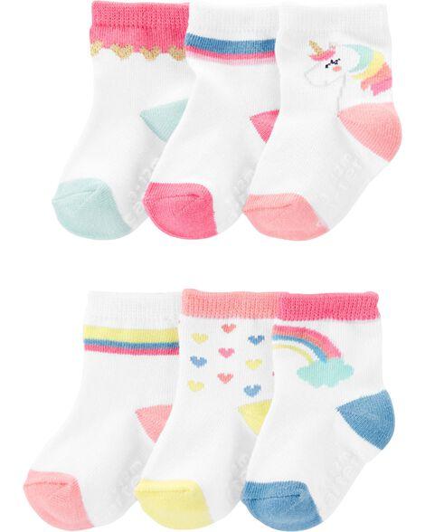6 paires de chaussettes à licorne