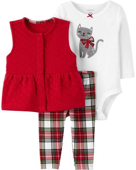 3-Piece Plaid Little Vest Set
