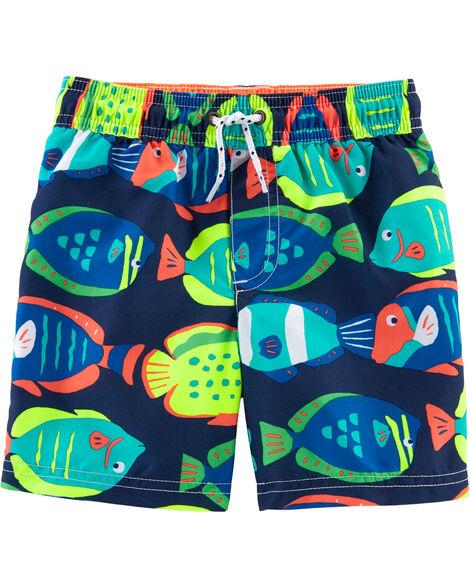 Fish Print Swim Trunks