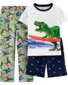 Pyjama 3 pièces en polyester à dinosaure, , hi-res