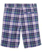 Plaid Flat-Front Shorts, , hi-res