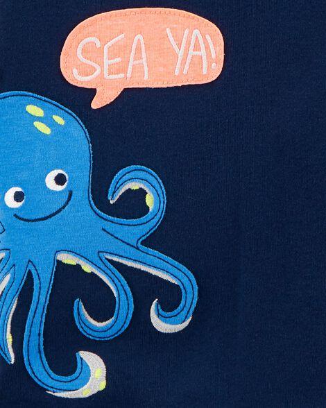 Pyjamas 4 pièces en coton ajusté pieuvre