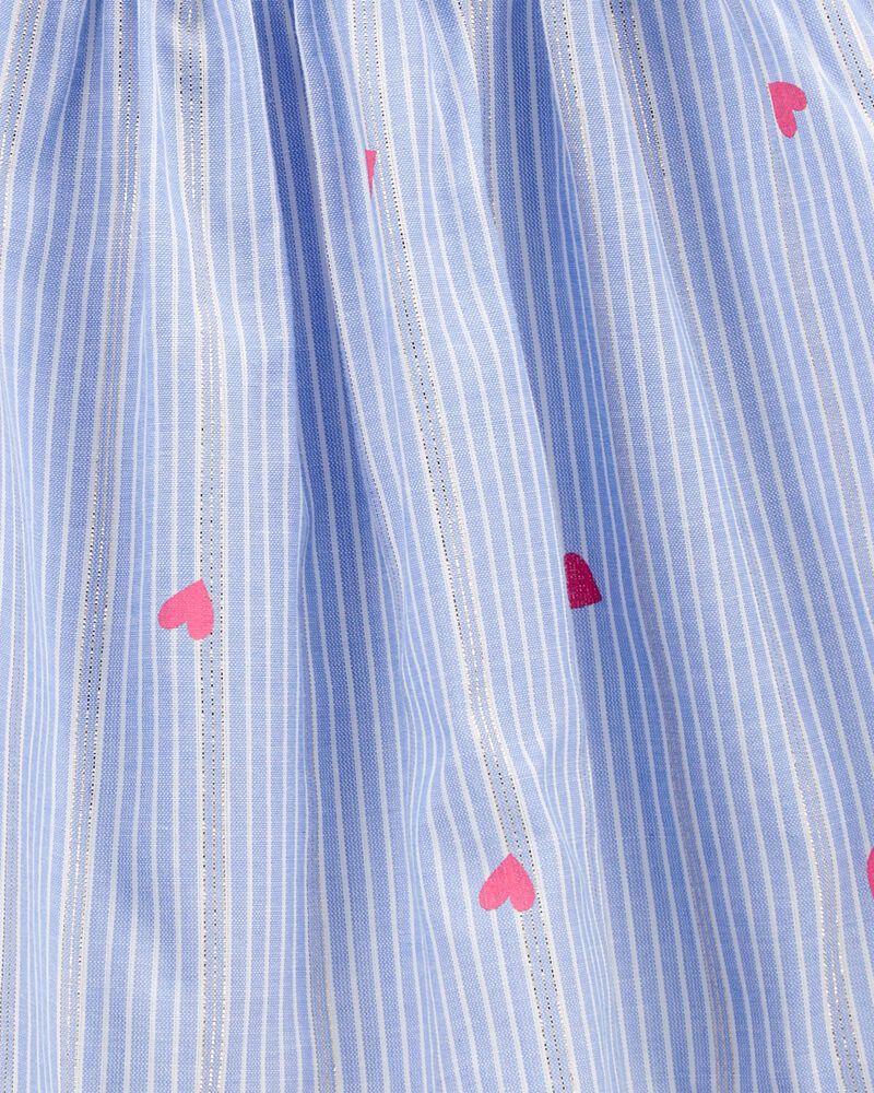 Robe à imprimé de cœurs et rayures scintillantes, , hi-res