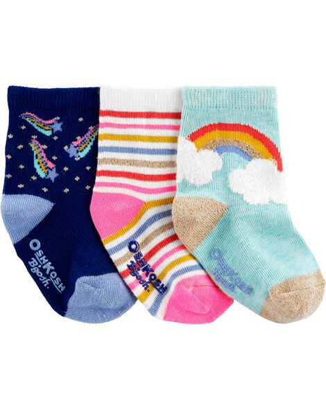 3-Pack Metallic Crew Socks