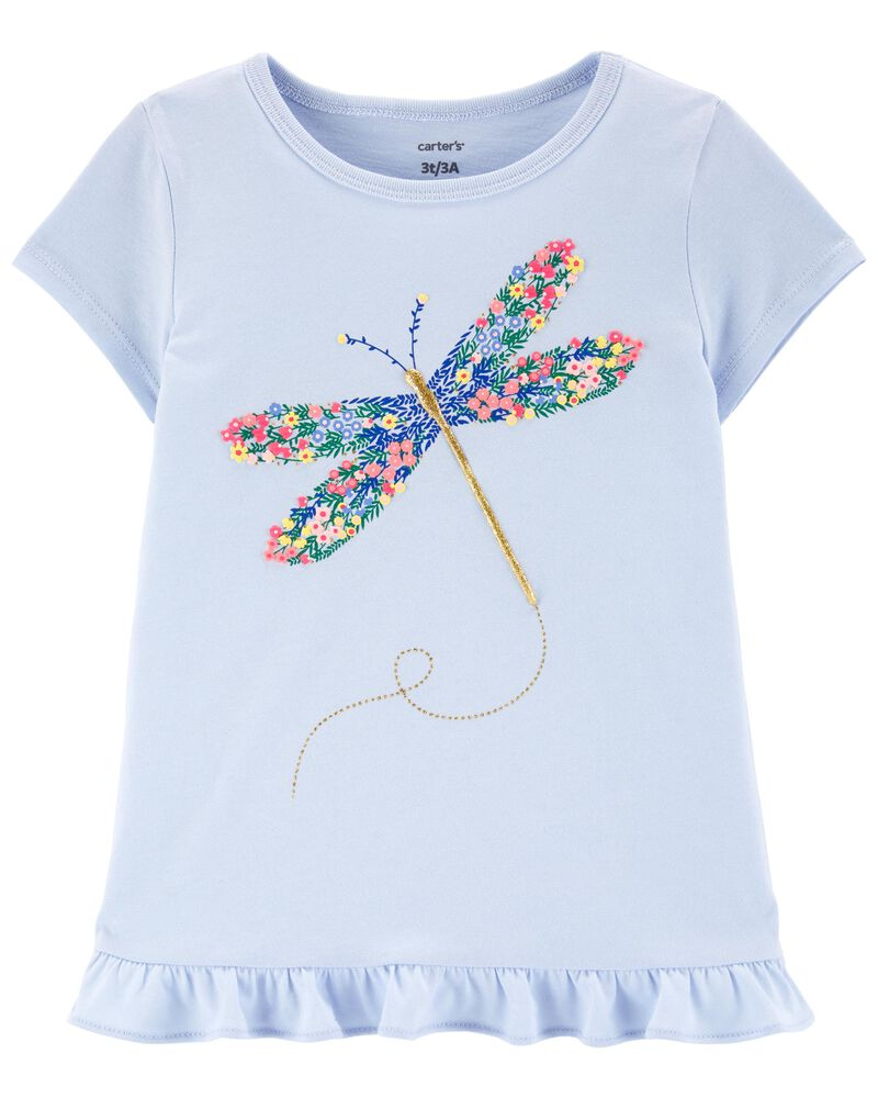 Floral Dragonfly Jersey Tee, , hi-res