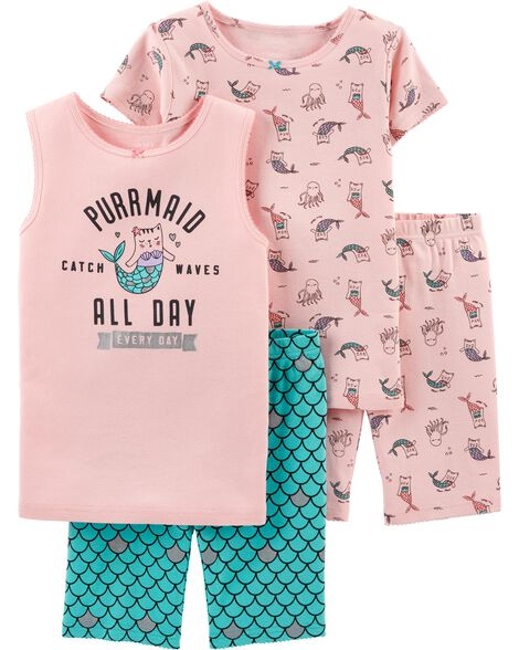 4-Piece Cat Mermaid Snug Fit Cotton PJs