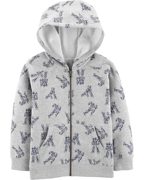 Robot Zip-Up Fleece-Lined Hoodie