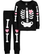2-Piece Halloween Skeleton Snug Fit Cotton PJs, , hi-res