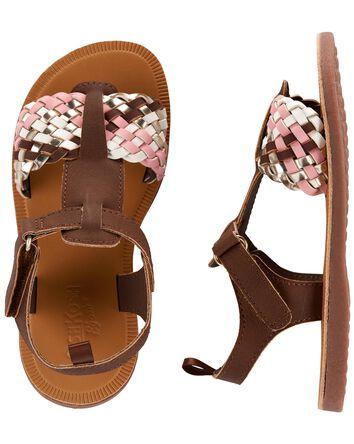 Gold Braided T-strap Sandals