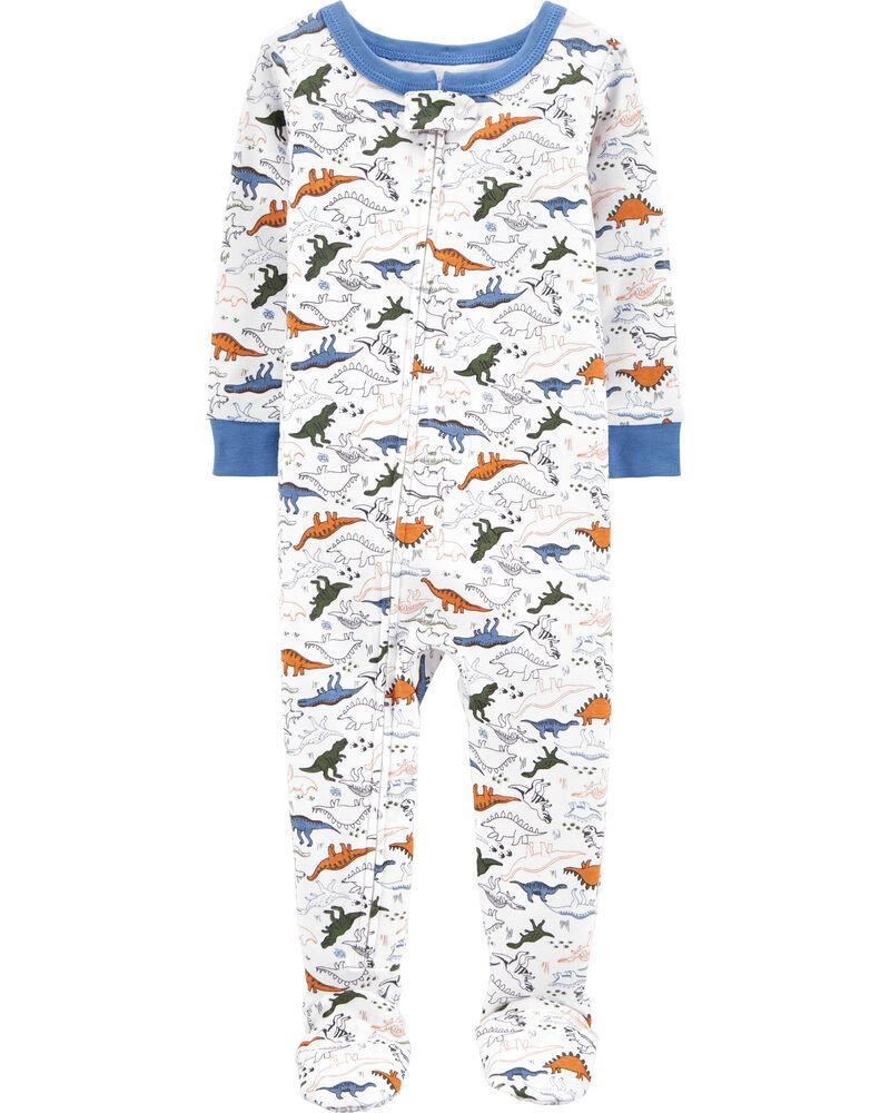 1-Piece Dinosaur Snug Fit Cotton Footie PJs, , hi-res