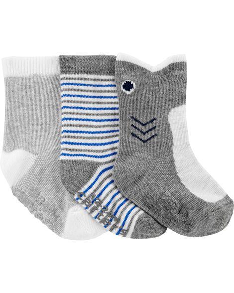 3-Pack Shark Ankle Socks