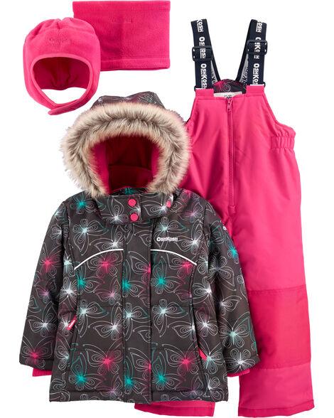 2-Piece Fleece-Lined Snowsuit with Bonus Hat & Neck Warmer