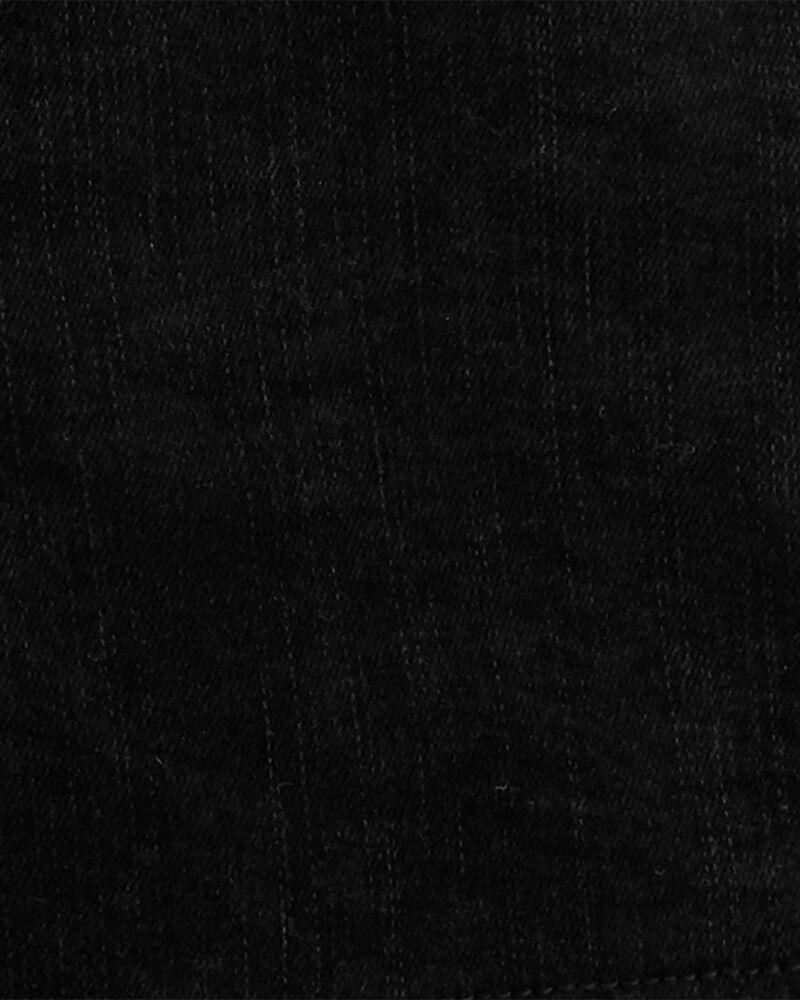 Salopette courte en tricot de denim à délavage noir aux enzymes, , hi-res