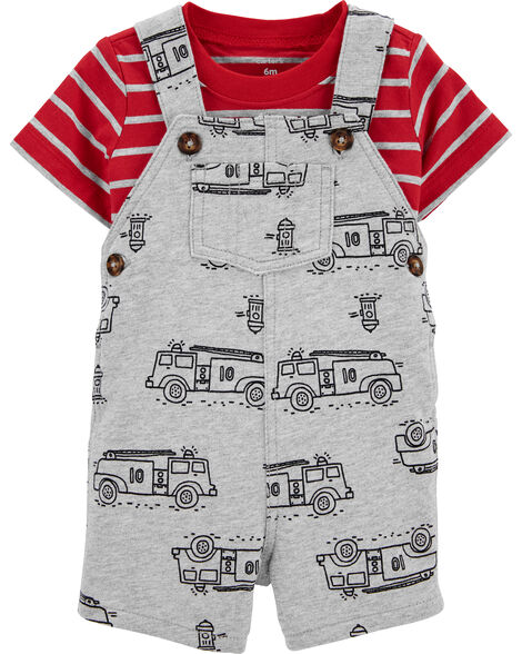 2-Piece Striped Tee & Firetruck Shortall Set