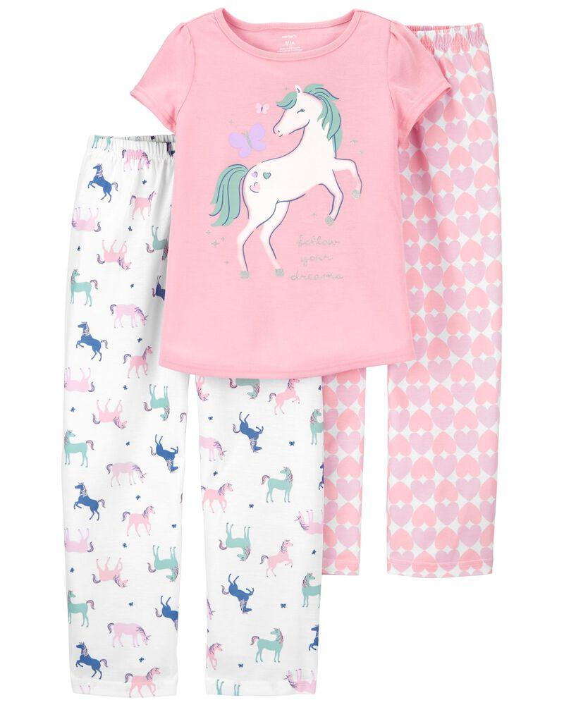 Pyjama 3 pièces ajusté motif licorne, , hi-res