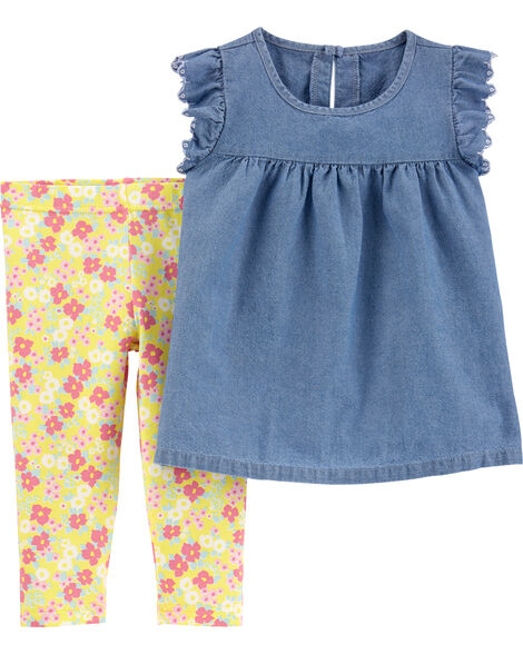 2-Piece Chambray Top & Floral Legging Set