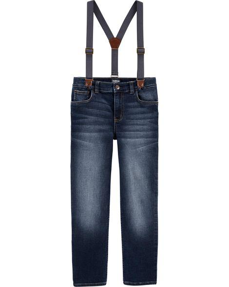 Jeans à bretelles - délavage météorite