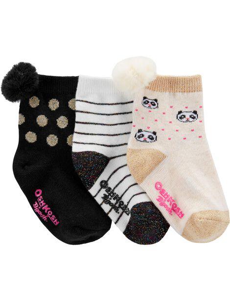 3-Pack Pom Pom Crew Socks