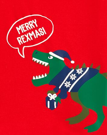 2-Piece Dinosaur Holiday Fleece PJs
