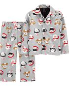 2-Piece Holiday Coat-Style Fleece PJs, , hi-res