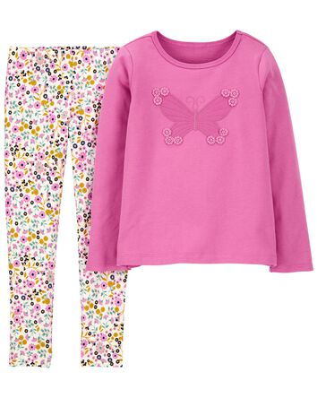 2-Piece Butterfly Top & Legging Set