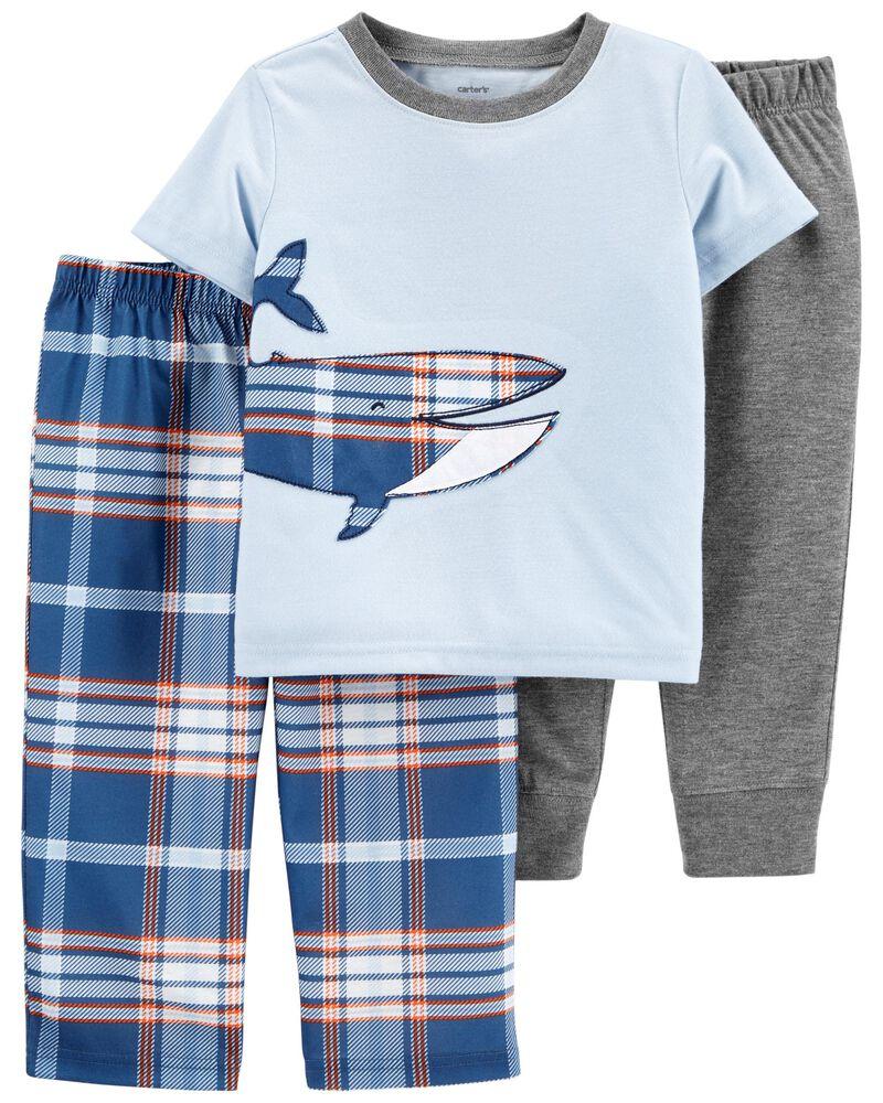 Pyjama 3 pièces de coupe ample à baleine, , hi-res