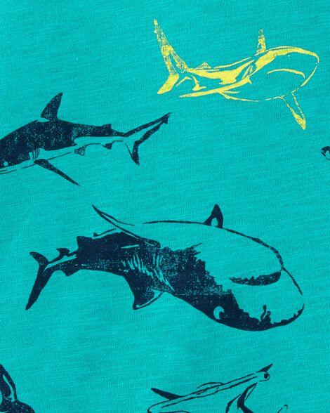 T-shirt en jersey flammé à encolure contrastante et requin