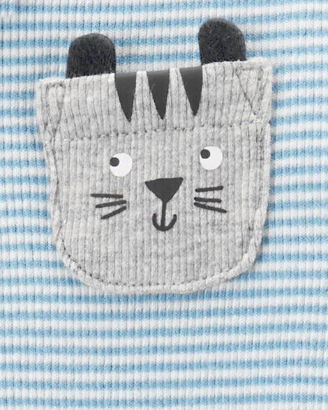 Striped Cat Zip-Up Stretch Sleep & Play