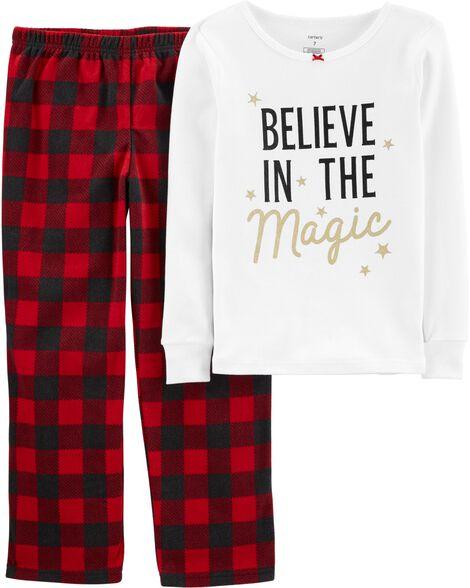 Pyjama 2 pièces en molleton et coton ajusté à motif du temps des Fêtes