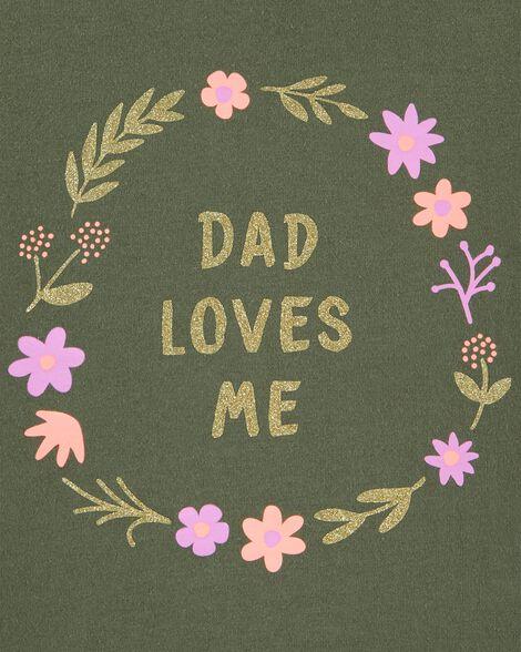 T-shirt en jersey scintillant Dad Loves Me