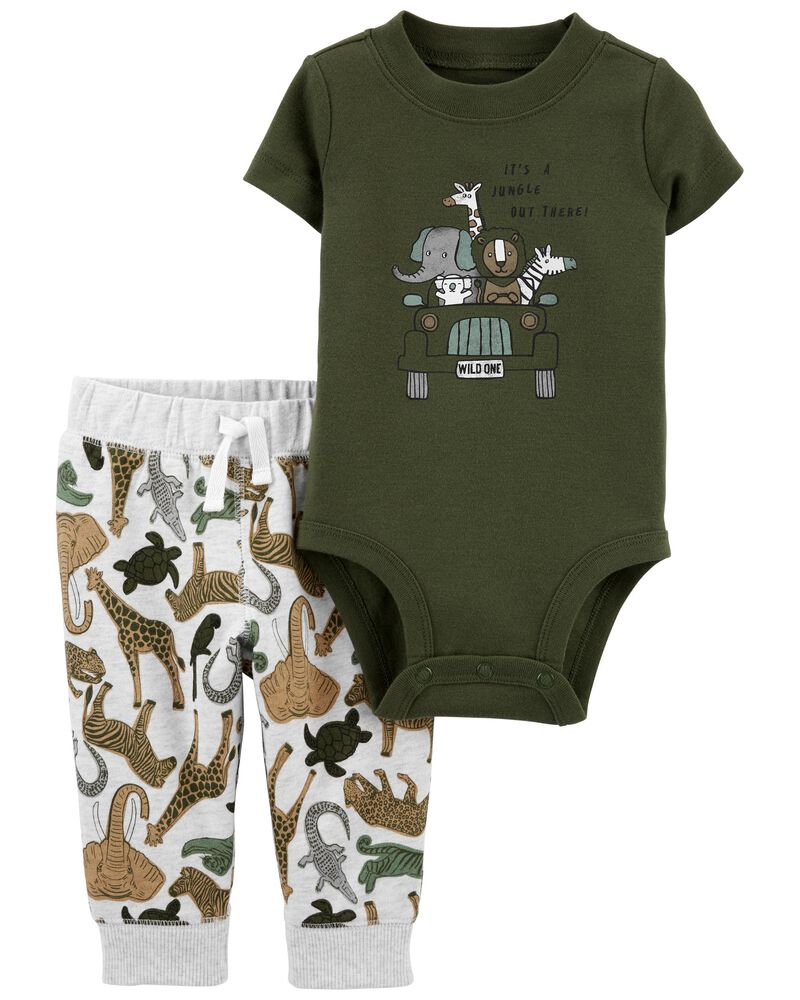 2-Piece Safari Bodysuit Pant Set, , hi-res