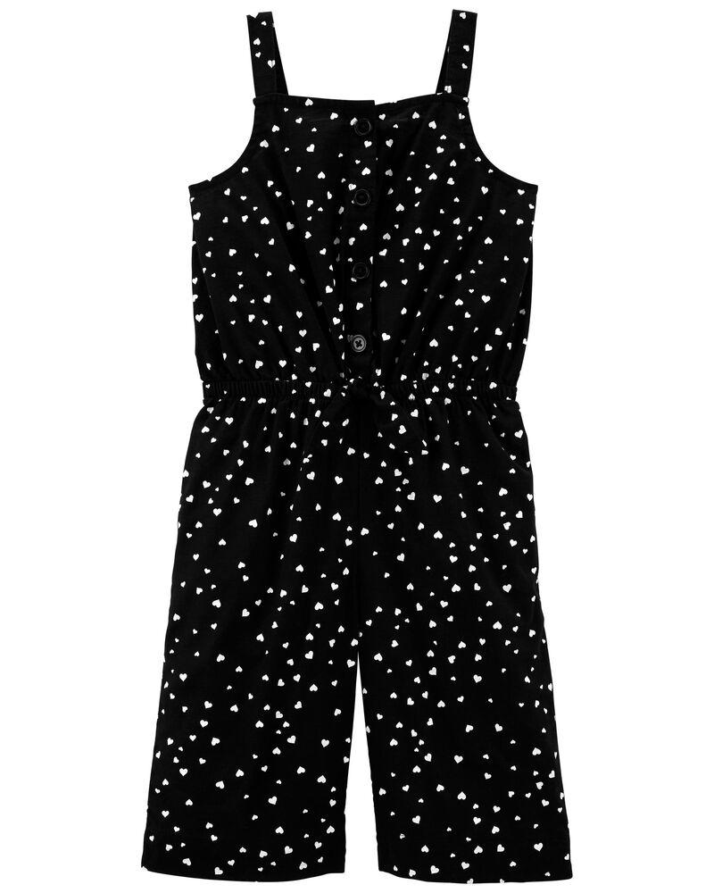 Heart Print Wide Leg Crop Jumpsuit, , hi-res