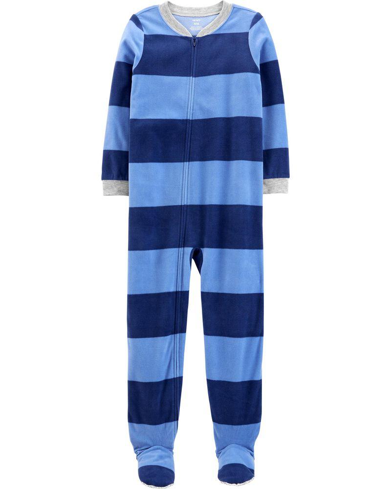 Pyjama 1 pièce à pieds en molleton rayé , , hi-res