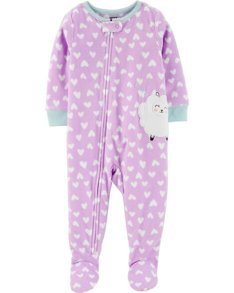 Pyjama 1 pièce avec pieds en molleton avec mouton