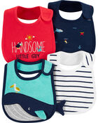 4-Pack Whale Teething Bibs, , hi-res