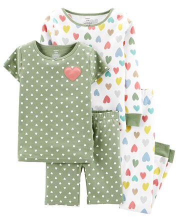 Pyjama 4 pièces en coton ajusté mot...