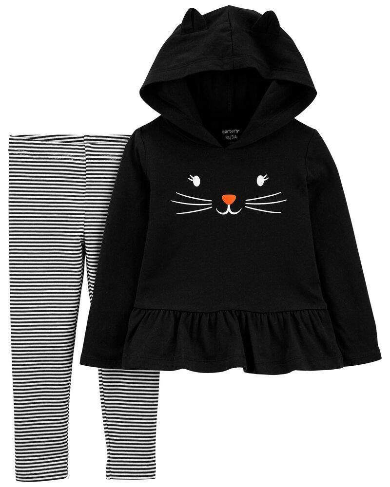 2-Piece Halloween Cat Hooded Tee & Legging Set, , hi-res