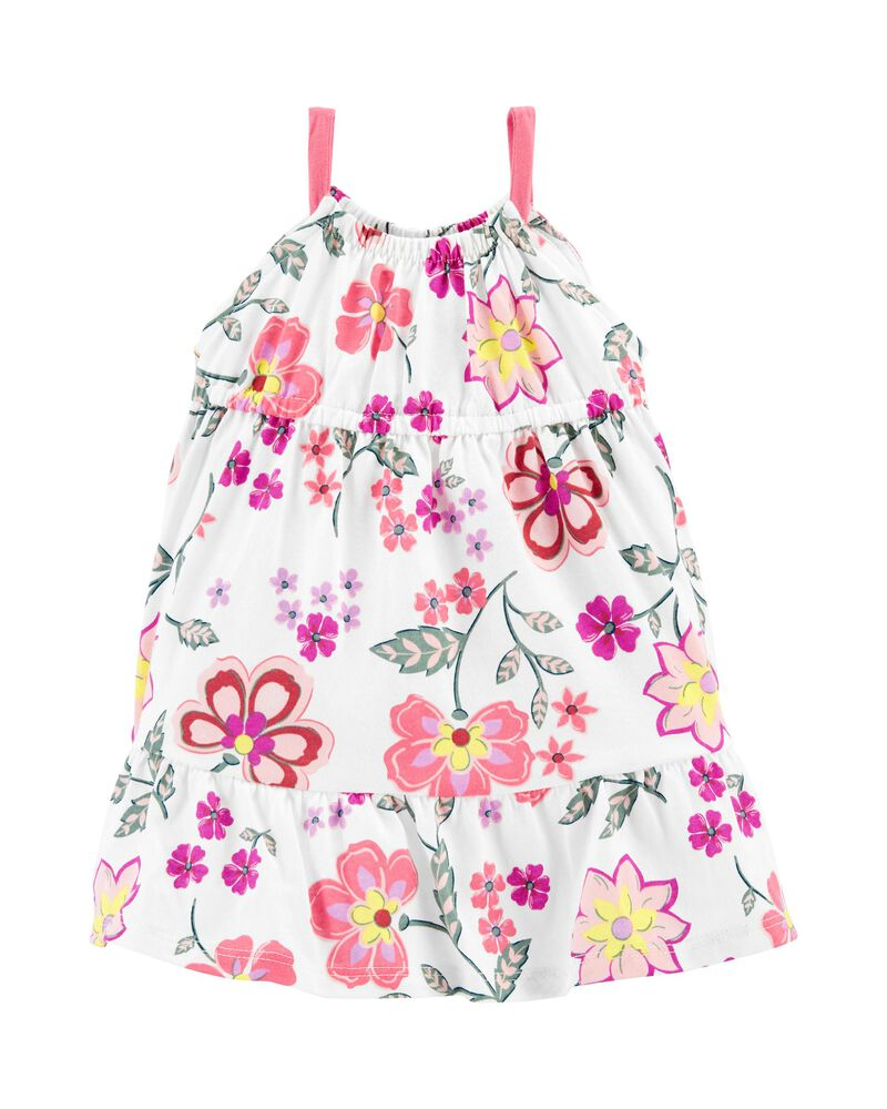 Floral Tiered Jersey Dress, , hi-res