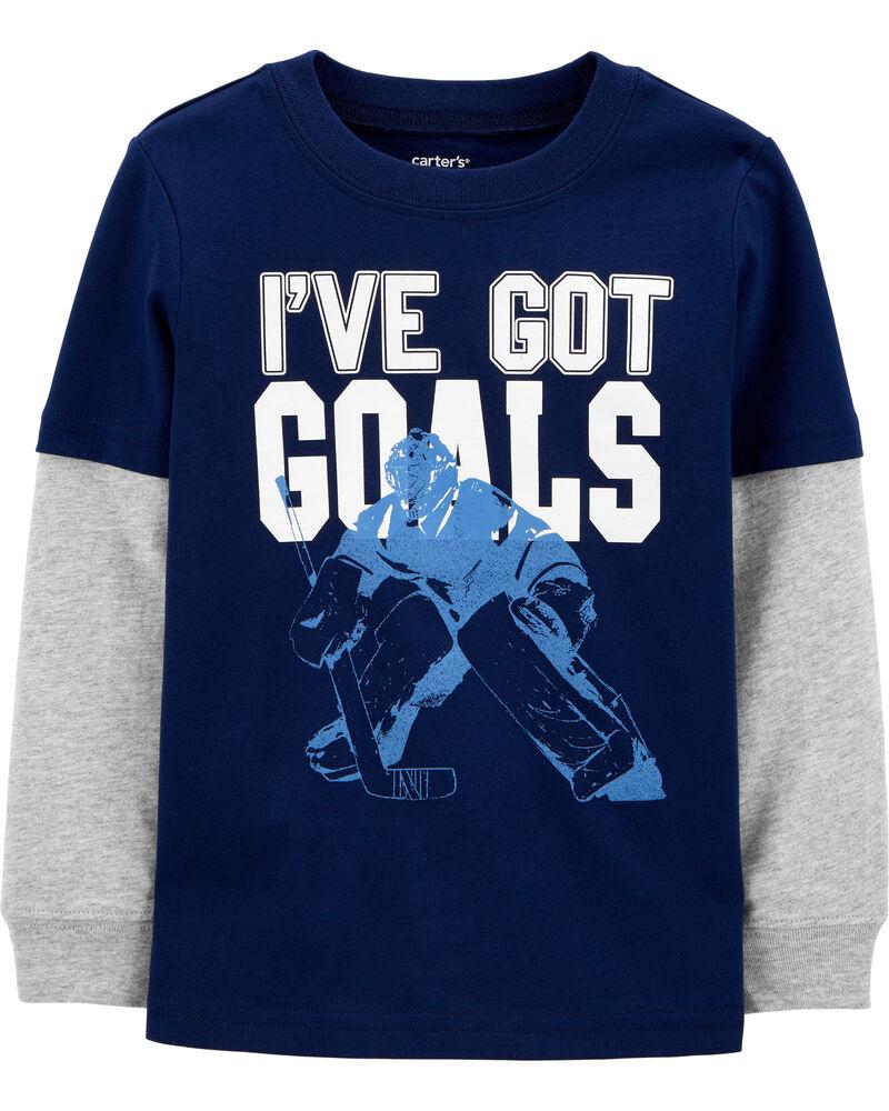 T-shirt hockey à manches de style superposé, , hi-res
