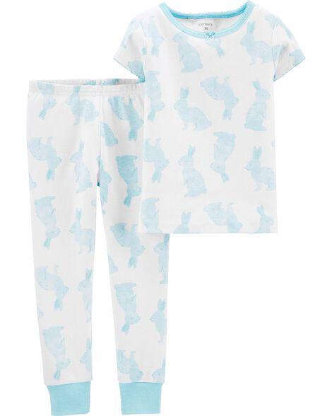 2-Piece Bunny Snug Fit Cotton PJs