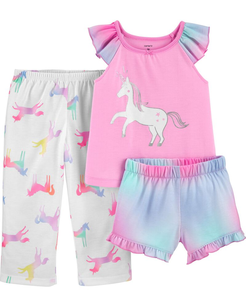 3-Piece Glitter Unicorn Poly PJs, , hi-res