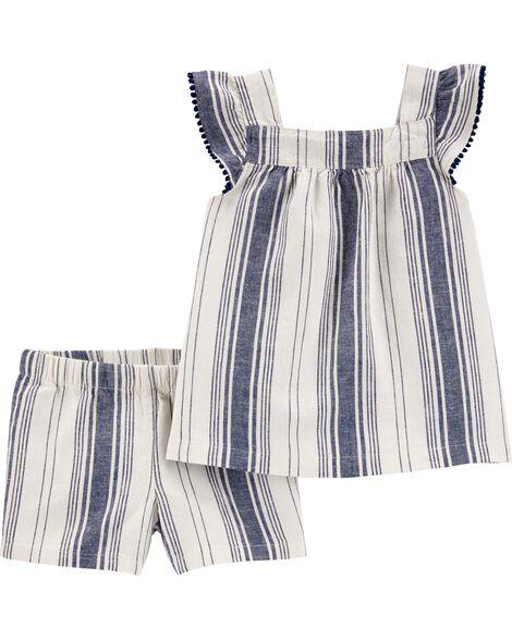 2-Piece Striped Linen Tank & Short Set