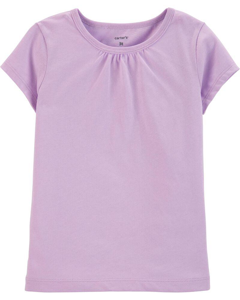 T-shirt en coton mauve, , hi-res