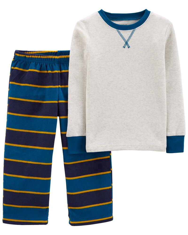 2-Piece Striped 100% Snug Fit Cotton & Fleece PJs, , hi-res