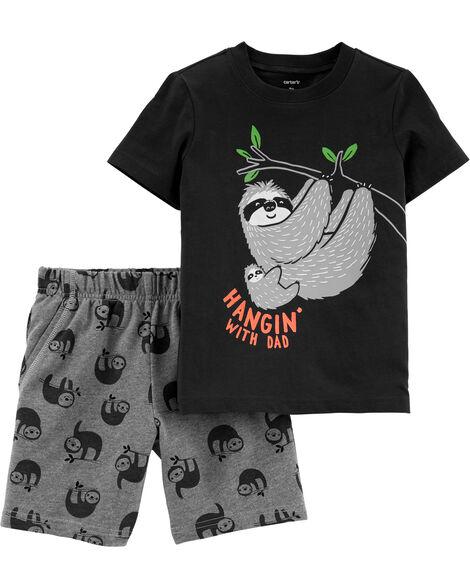 Ensemble 2 pièces t-shirt en jersey à paresseux Dad et short en jersey bouclette